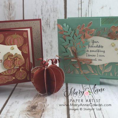 Gilded Autumn Card & Super Cute 3D Pumpkins!