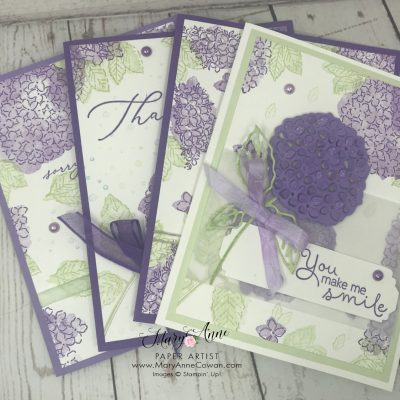 Hydrangea Stamped Cards